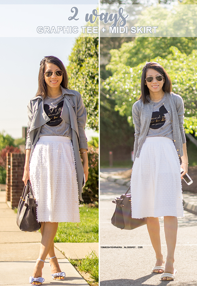 2 ways to wear graphic tee and midi skirt