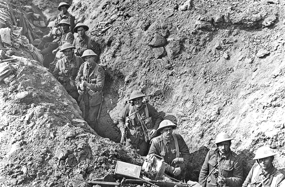 Infantry from the 2nd Battalion, Auckland Regiment, New Zealand Division in the Switch Line near Flers, taken some time in September 1916, after the Battle of Flers-Courcelette.
