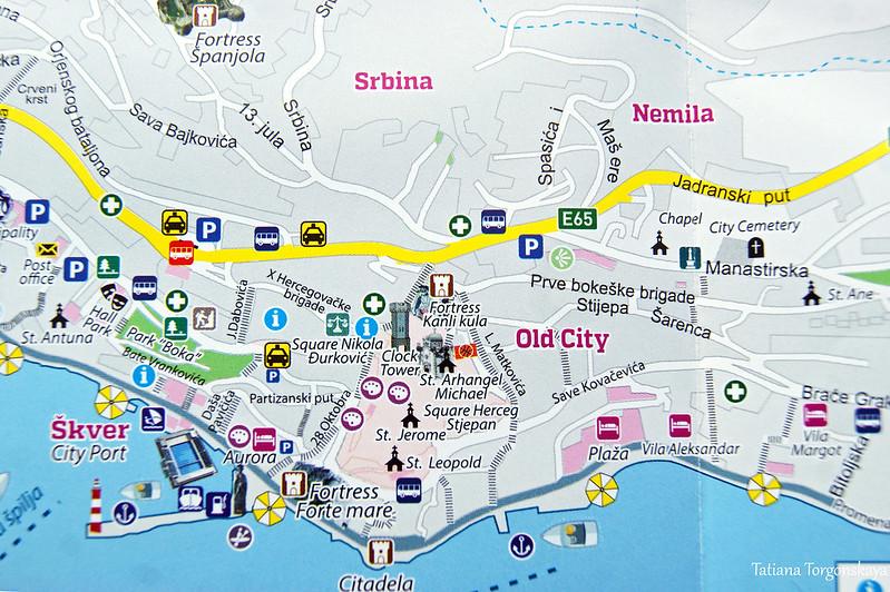 Центр Херцег Нови на туристической карте