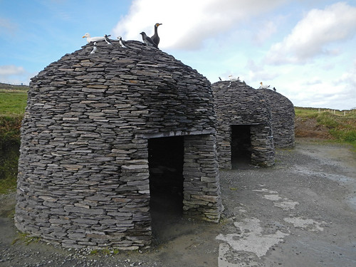 Old stone farm buildings at to 'Kerry's Most Spectacular Cliffs' in Ireland