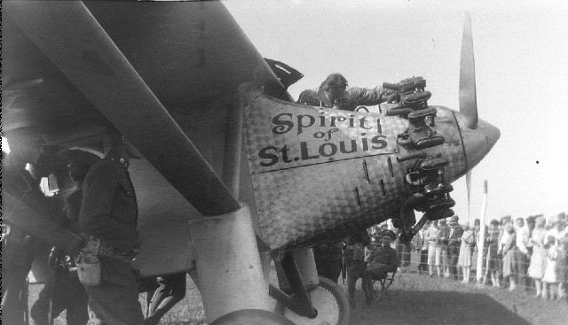 The engine of the Spirit of St. Louis as seen at Little Falls, Minnesota, on August 25, 1927.
