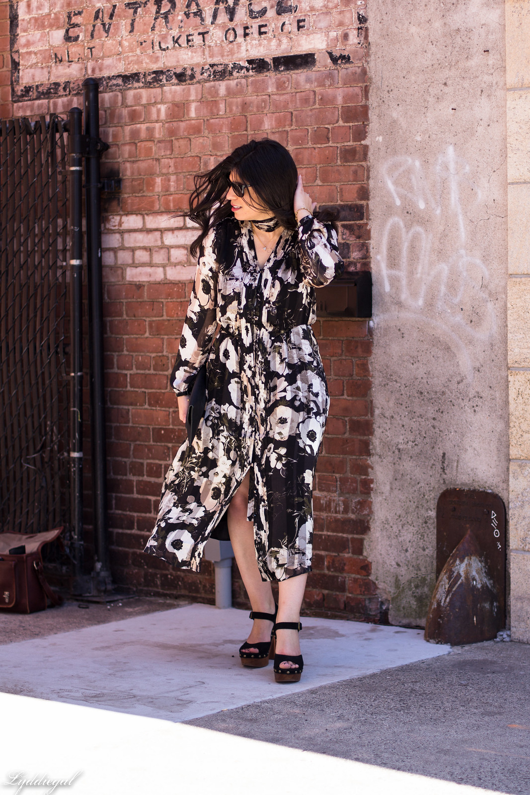 black and white floral midi dress, Jeffrey Campbell Splendid sandals, spring outfit-2.jpg