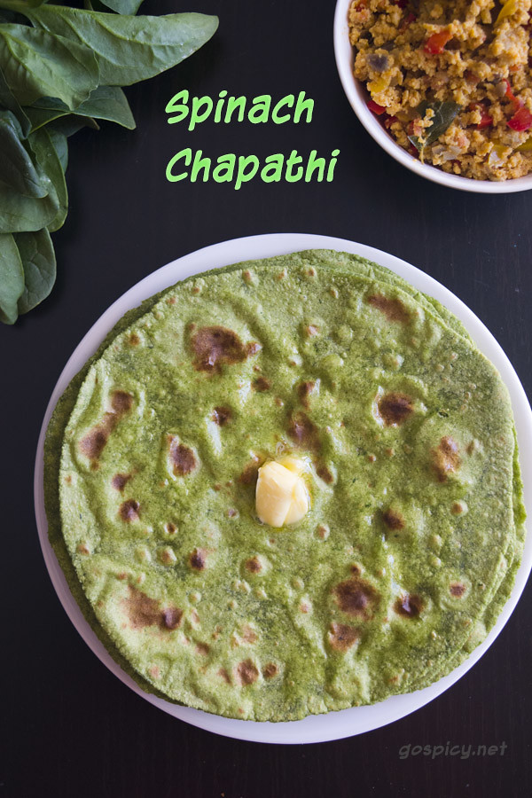 Spinach Chapathi Recipe by GoSpicy.net