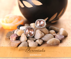 Rose Gold Stud Earrings made with elements from Swarovski