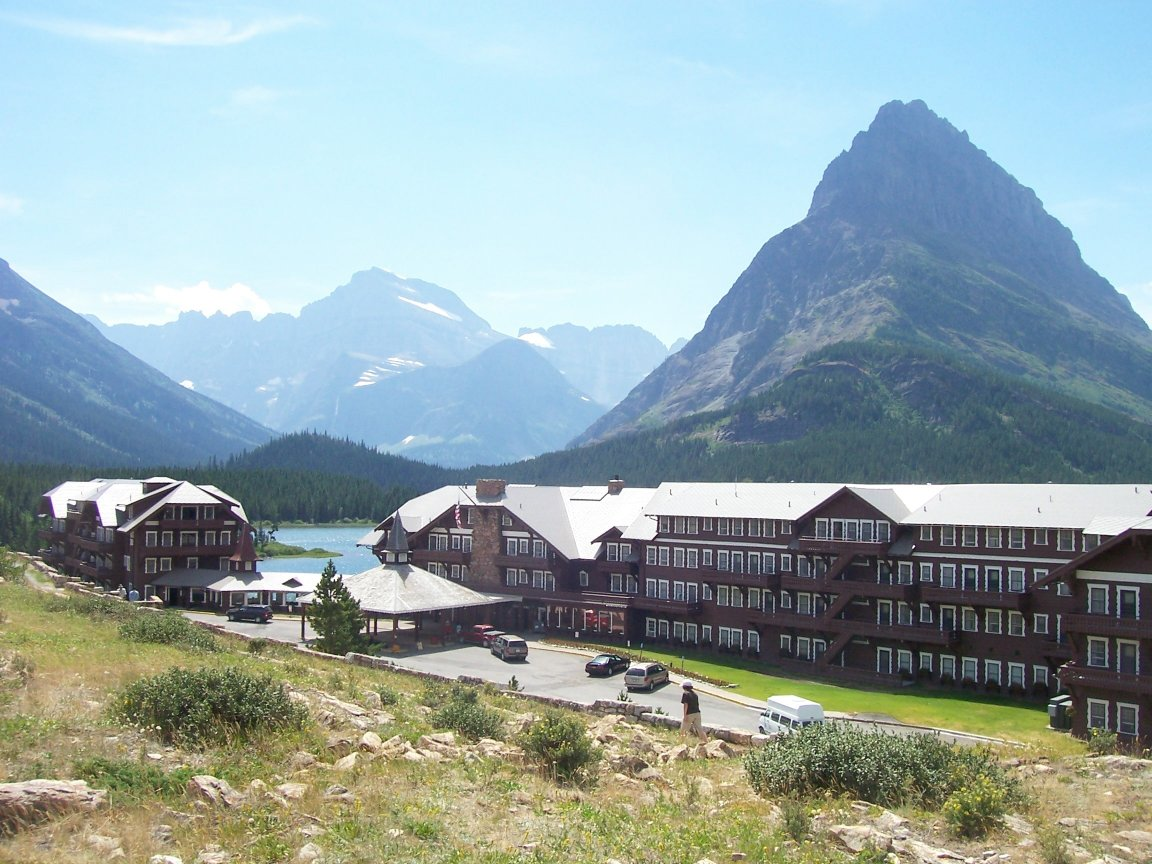 The Many Glacier Hotel on Swiftcurrent Lake in Glacier National Park, Montana. Photo taken on July 29, 2007.