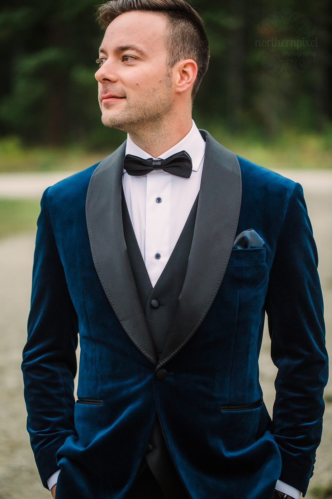 Groom Blue Velvet Tuxedo Suits by Curtis Eliot Edmonton