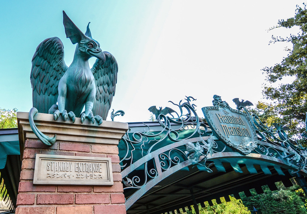 Haunted Mansion bird and entrance TDL