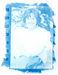 Cyanotype print made on an old photographic enlarger directly from a 35mm negative film without using a conventional contact printer and digital processing