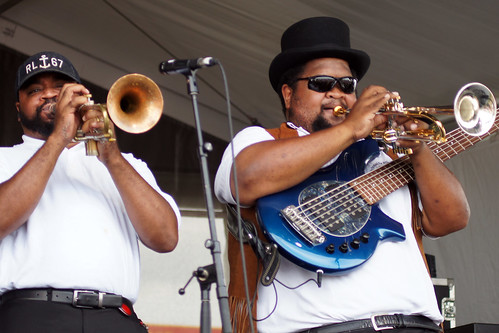 Pinstripe Brass Band  on Day 5 of Jazz Fest - May 4, 2018. Photo by Bill Sasser.