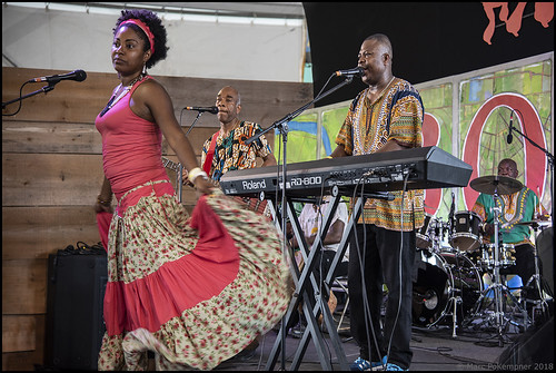 Cultural Exchange Tricentennial - Santiman and Ganifuna on Day 4 of Jazz Fest - May 3, 2018. Photo by Marc PoKempner.