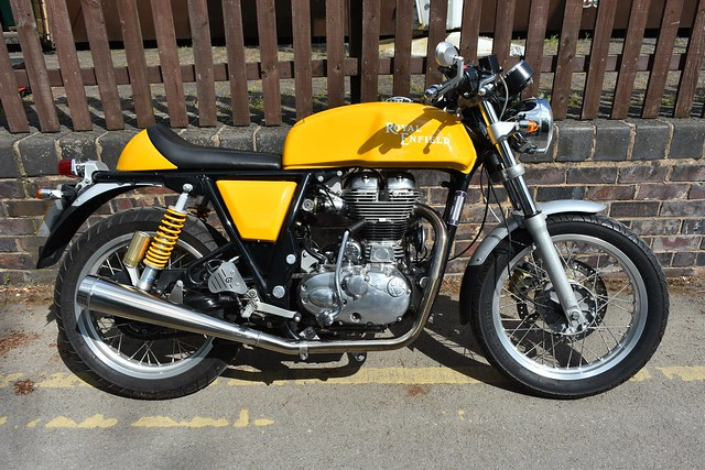 A 2014 Royal Enfield Continental GT seen at Toddington railway station in Gloucestershire