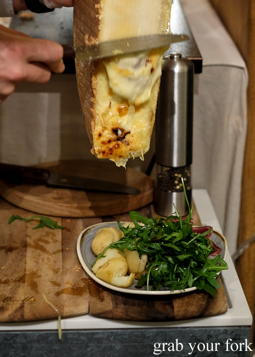 Melted raclette in action at Handpicked Cellar Door in Sydney