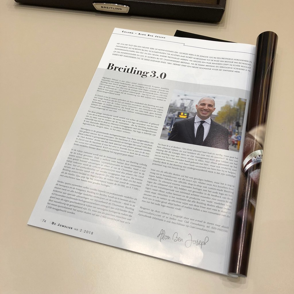 Column about Breitling by Alon Ben Joseph for Oak Consultancy published by De Juwelier