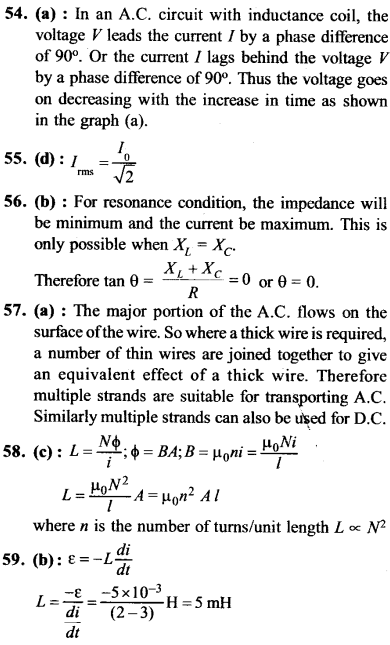 NEET AIPMT Physics Chapter Wise Solutions - Electromagnetic Induction and Alternating Current explanation 54,55,56,57,58,59