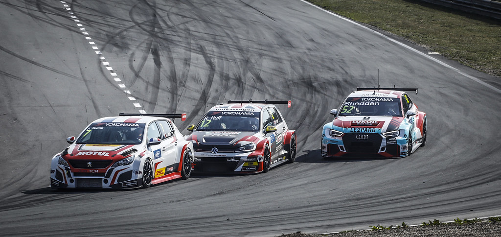 07 COMTE Aurelien, (fra), Peugeot 308 TCR team DG Sport Competition, action 12 HUFF Rob, (gbr), Volkswagen Golf GTI TCR team Sebastien Loeb Racing, action 52 SHEDDEN Gordon, (gbr), Audi RS3 LMS TCR team Audi Sport Leopard Lukoil, action during the 2018 FIA WTCR World Touring Car cup of Zandvoort, Netherlands from May 19 to 21 - Photo Francois Flamand / DPPI