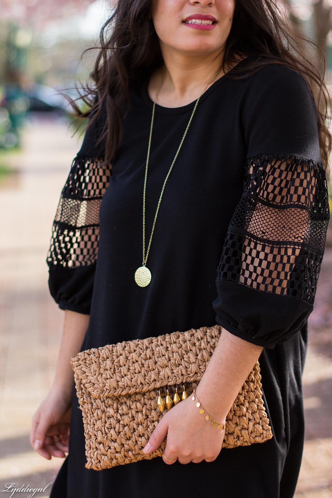 black dress, straw clutch, nude pumps-7.jpg