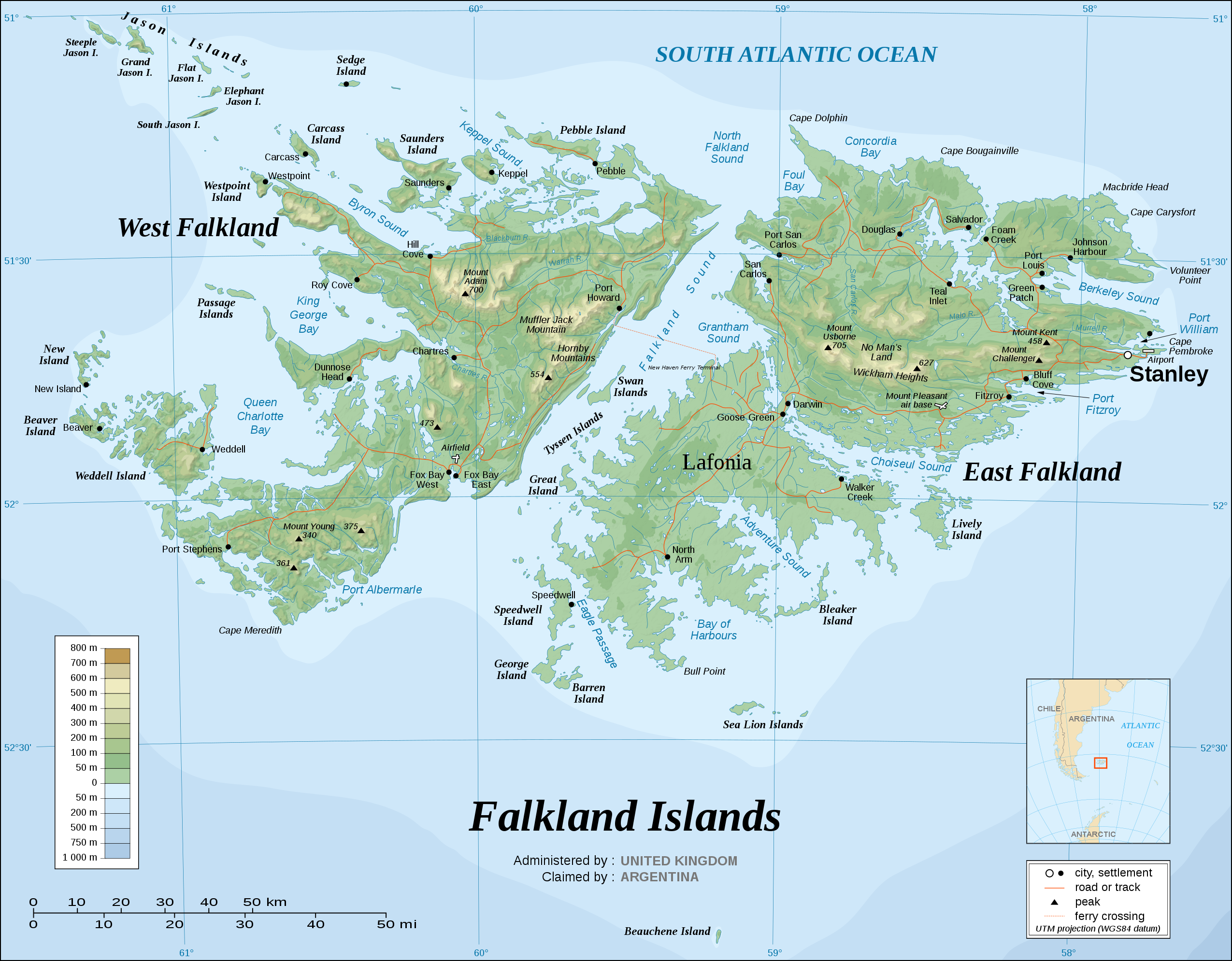 Topographic map of the Falkland Islands