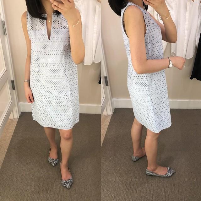 LOFT Striped Eyelet Shift Dress, size 0 regular