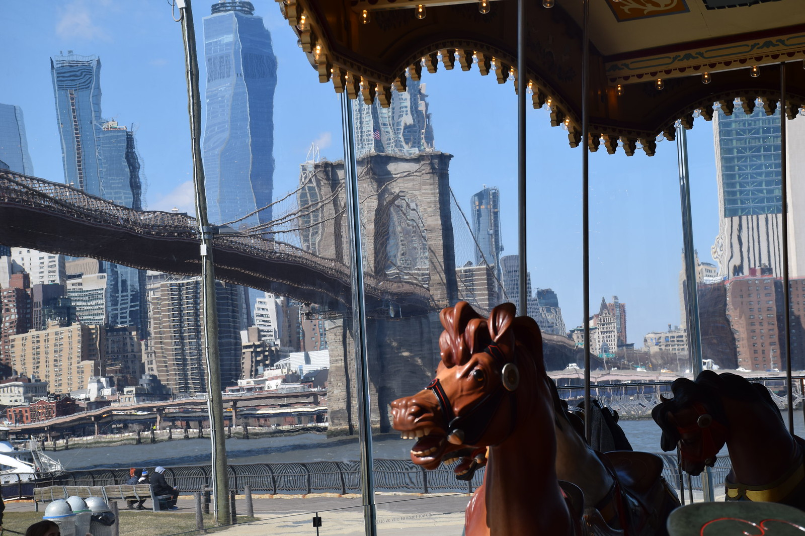 The carousel is just by the Brooklyn Bridge