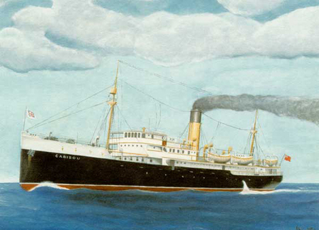 Postcard with a painting of S.S. Caribou.