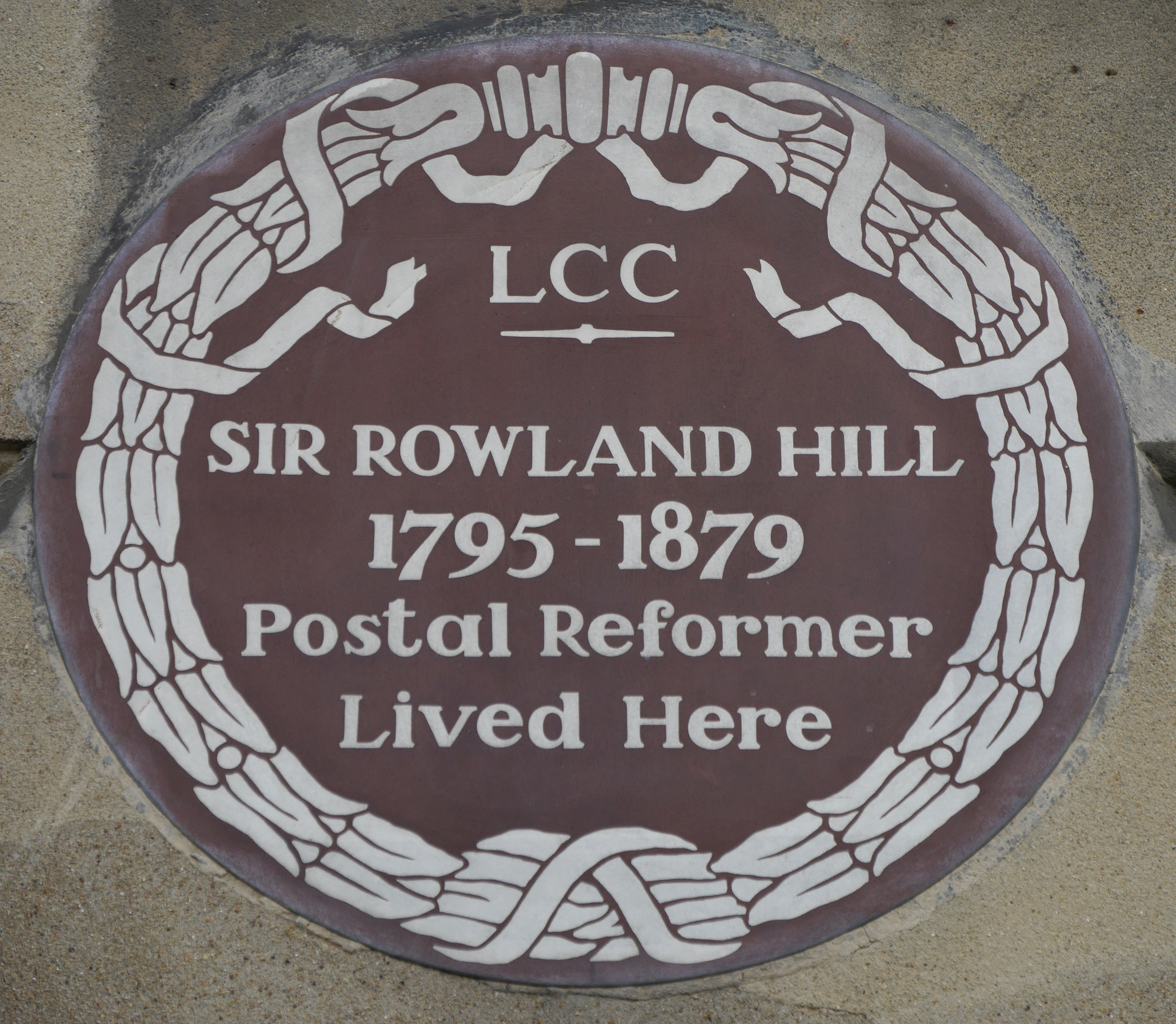 Plaque at 1-2 Orme Square, Bayswater, London, W2, where Rowland Hill lived from 1839 until 1842.