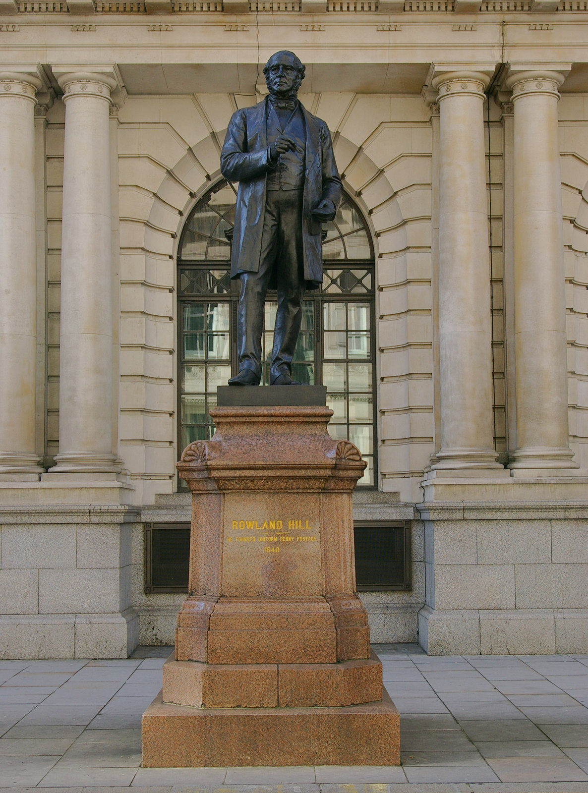 Statue of Sir Rowland Hill outside the former General Post Office (King Edward Building), City of London. Photo taken on October 1, 2009.