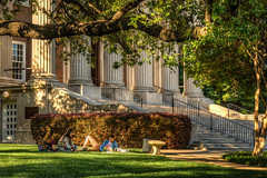 Student study in the shadow of Dallas Hall before finals