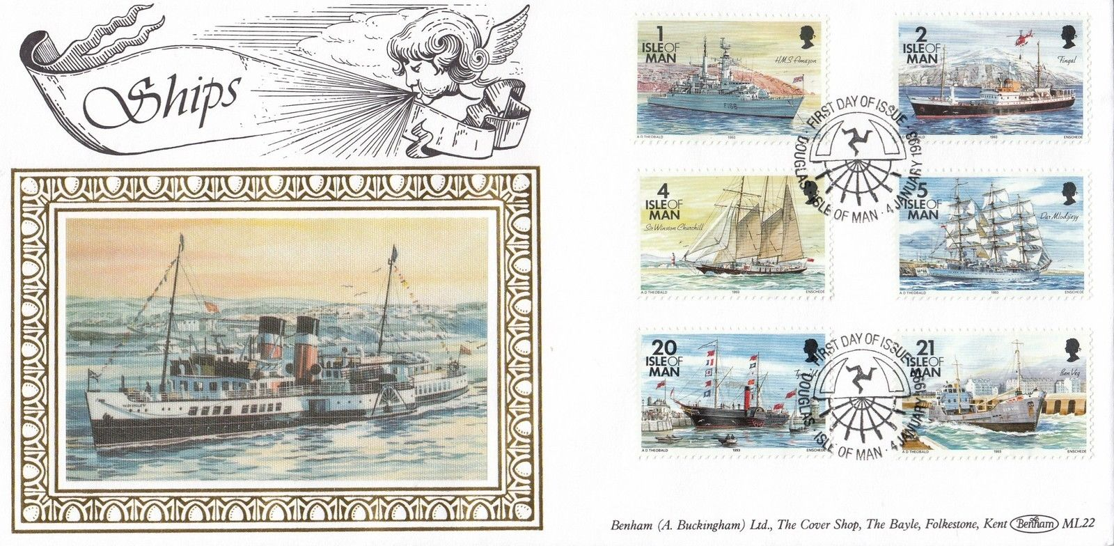 First day cover of the low values - 1p, 2p, 4p, 5p, 20p and 21p - in the 1993 Historic Ships definitive series issued by the Isle of Man on January 4, 1993 (Scott #531-534 and #543-544). Blenham cachet. Image from eBay [NMIC: 2018]