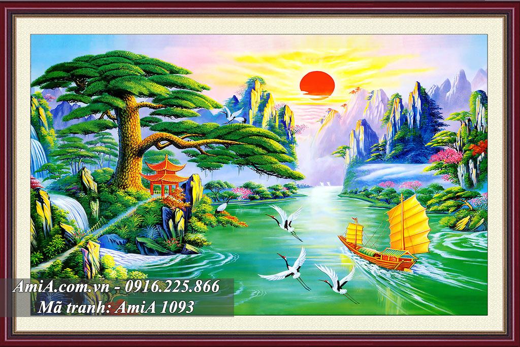 Tranh phong cảnh đẹp mặt trời mọc con thuyền ra khơi