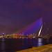 Night falls over Erasmusbrug, Rotterdam