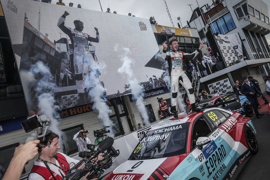 VERNAY Jean-Karl, (fra), Audi RS3 LMS TCR team Audi Sport Leopard Lukoil, portrait celebrating victory, during the 2018 FIA WTCR World Touring Car cup of Zandvoort, Netherlands from May 19 to 21 - Photo Jean Michel Le Meur / DPPI