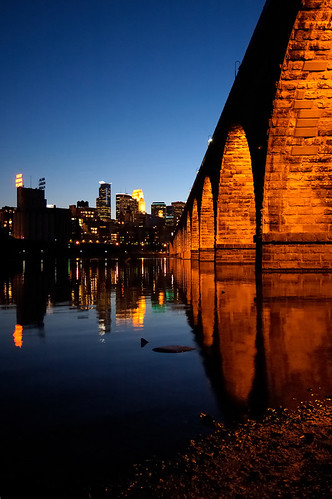 stone arch bridge in summer