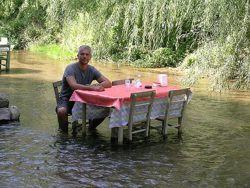 Dinner table in river