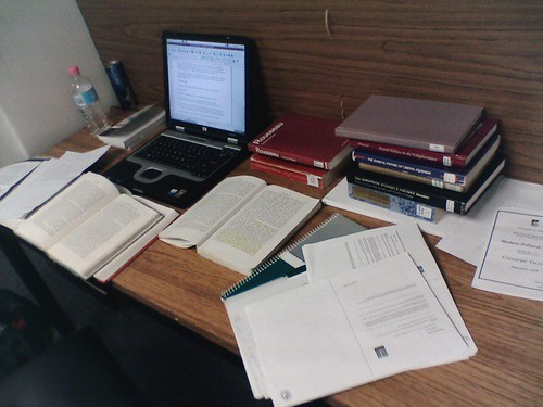 Essay Time (Rousseau and Women): My desk at the library