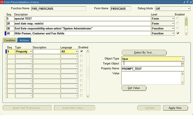 Oracle Form Personalization (Users) Actions tab | Molesque | Flickr