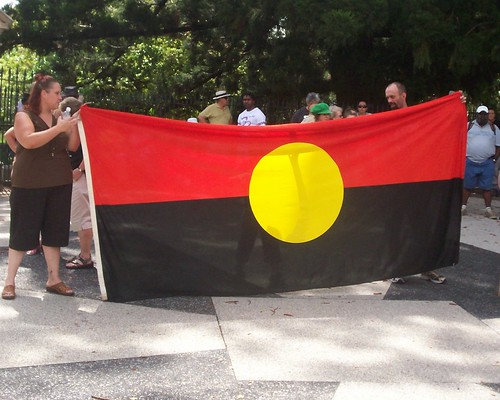 Aboriginal Flag - Invasion Day Rally and March, Parliament House, George St, Brisbane, Queensland, Australia 070126