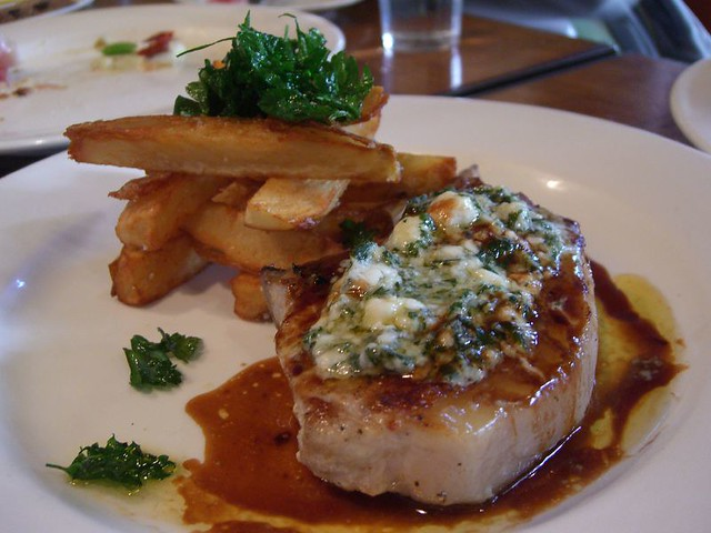 Pork Chops with Roquefort Butter and Fat Fries - Il Fornaio | Flickr ...