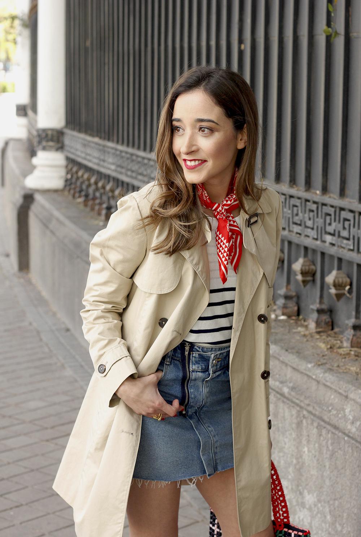 trench outfit denim skirt kitten heels striped sweater spring 11