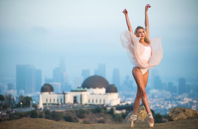 Nikon D810 Photos of Ballerina Dance Goddess Photos!  Jete over Griffith Observatory & the LA Skyline! Pretty, Tall Ballet Ballet Goddess Captured with the Nikon 70-200mm f/2.8G ED VR II AF-S Nikkor Zoom Lens !
