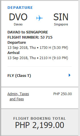 Cebu Pacific Sale Davao to Singapore September 13, 2018