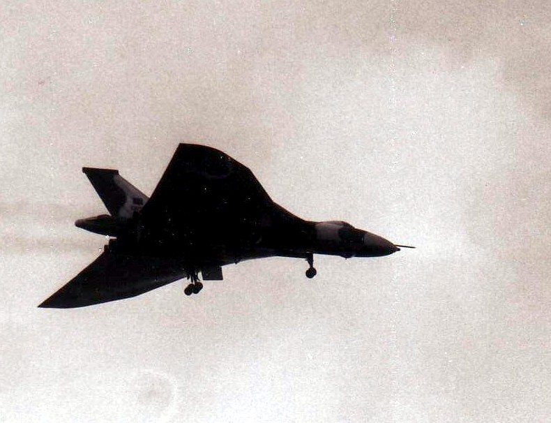 Vulcan bomber over Ascension Island on May 18, 1982.