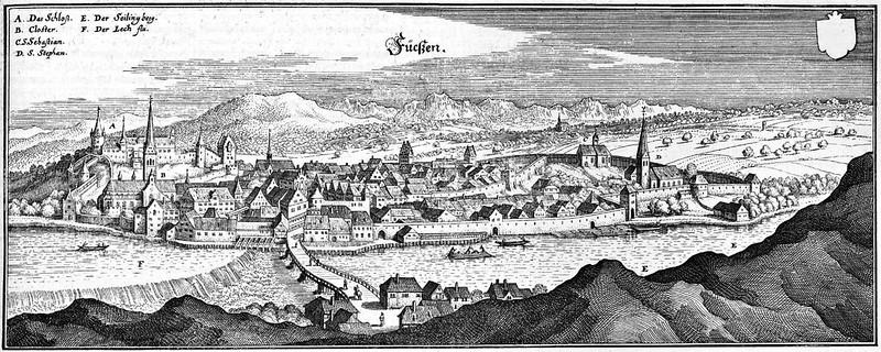 Matthäus Merian - Fücßen, Füssen - Auszug aus der Topographia Suaviae (c.1650)