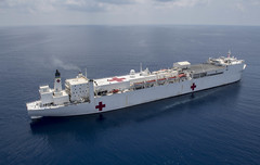 The Military Sealift Command hospital ship USNS Mercy (T-AH 19) transits the South China Sea, May 15.