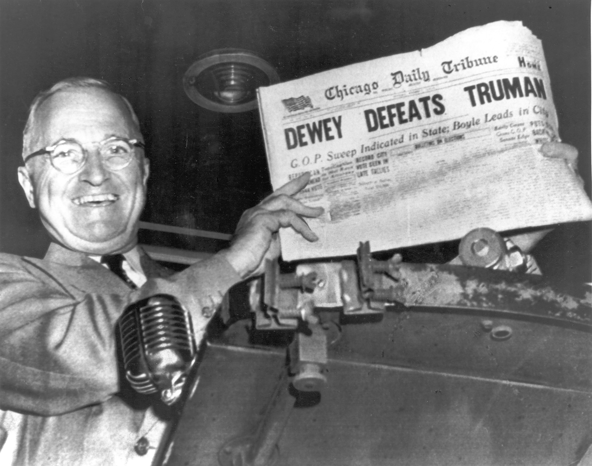 Harry S. Truman has the last laugh as he holds up a copy of the Chicago Daily Tribune at Union Station in St. Louis, Missouri, on November 3, 1948, after winning the election the previous day. He was so widely expected to lose that the Tribune ran this incorrect headline.