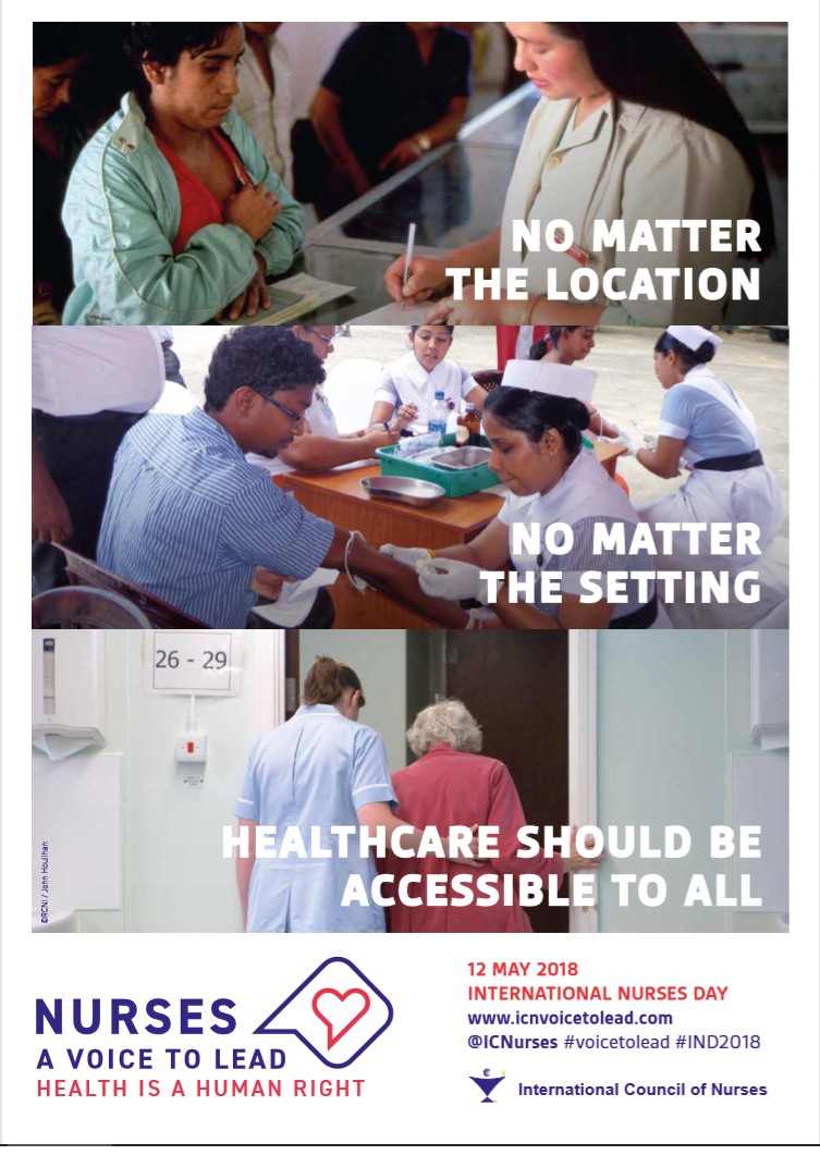Poster supporting International Nurses Day on May 12, 2018.