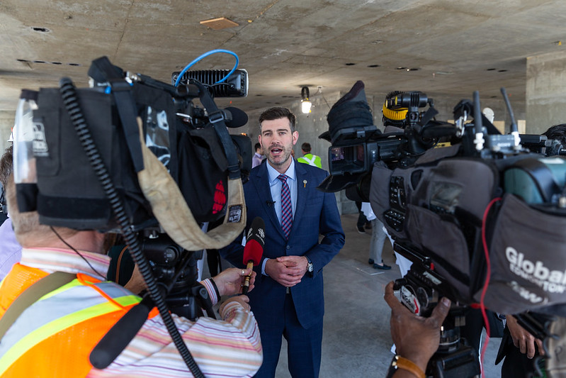 Mayor Don Iveson speaking with the media