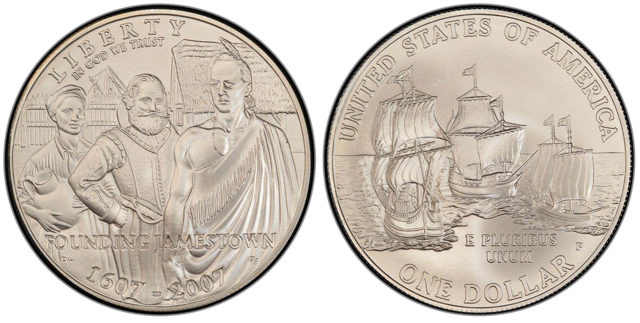 Commemorative $1 coin marking the 400th anniversary of the Jamestown settlement, issued by the U.S. Mint in 2007.