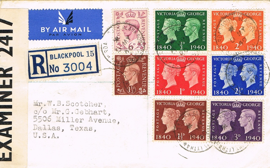 Great Britain - Scott #252-257 (1940) on Registered Air Mail cover with Scott #237 (1937) and #243 (1939), mailed from Lytham Road South Station, Blackpool, on the first day of issue, May 6, 1940. Examined by censor.