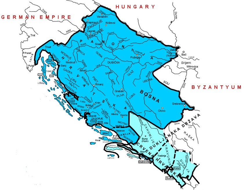 Map of the Kingdom of Croatia (925–1102) during the reign of King Tomislav