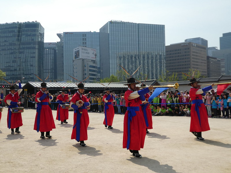 The Royal Changing of the Guard Practice at Gyeongbokgung Palace, Seoul